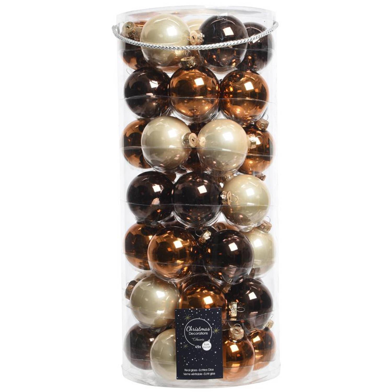 Glas Kerstballen Mix (6cm) Box 49 Stuks Bruin