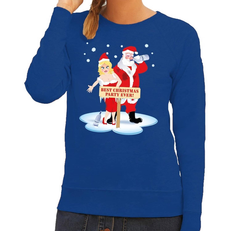 Foute kersttrui sweater dronken kerstman en kerstvrouw na kerstborrel feest blauw voor dames Kersttruien L (40)