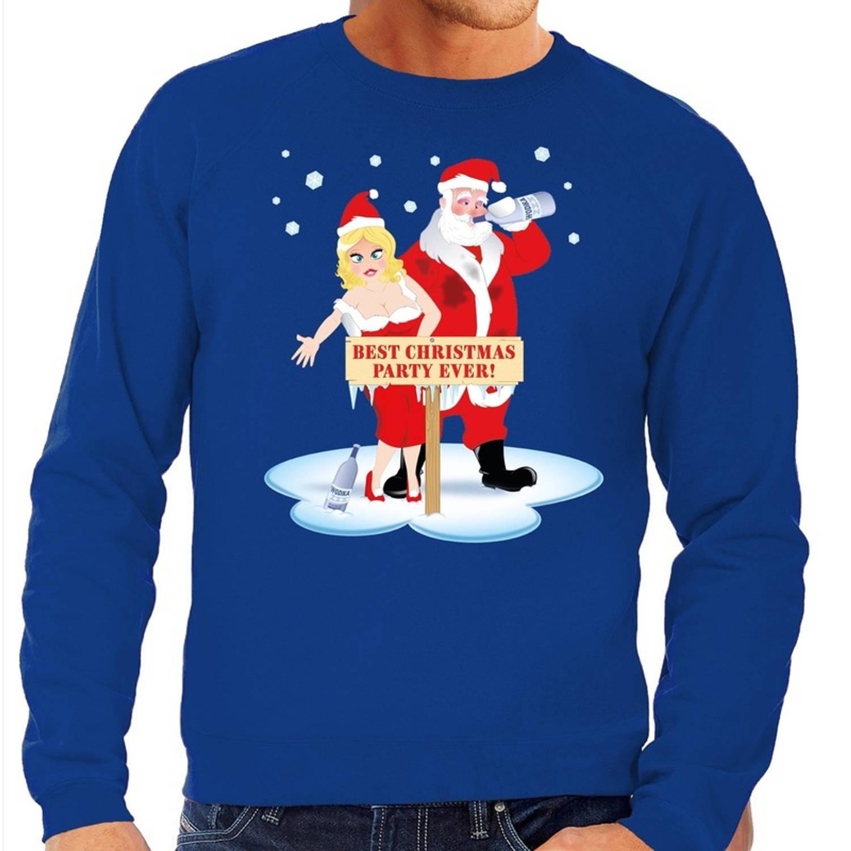 Foute kersttrui / sweater dronken kerstman en kerstvrouw na kerstborrel/ feest blauw voor heren - Kersttruien M (50)