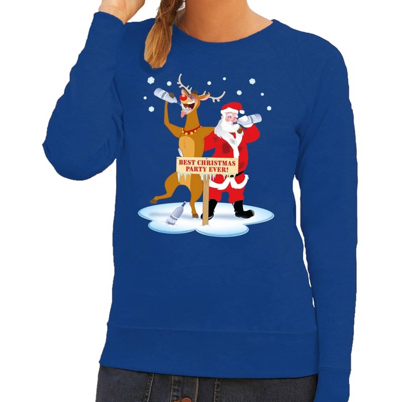 Foute kersttrui / sweater dronken kerstman en rendier Rudolf na kerstborrel/ feest blauw voor dames - Kersttruien M (38)