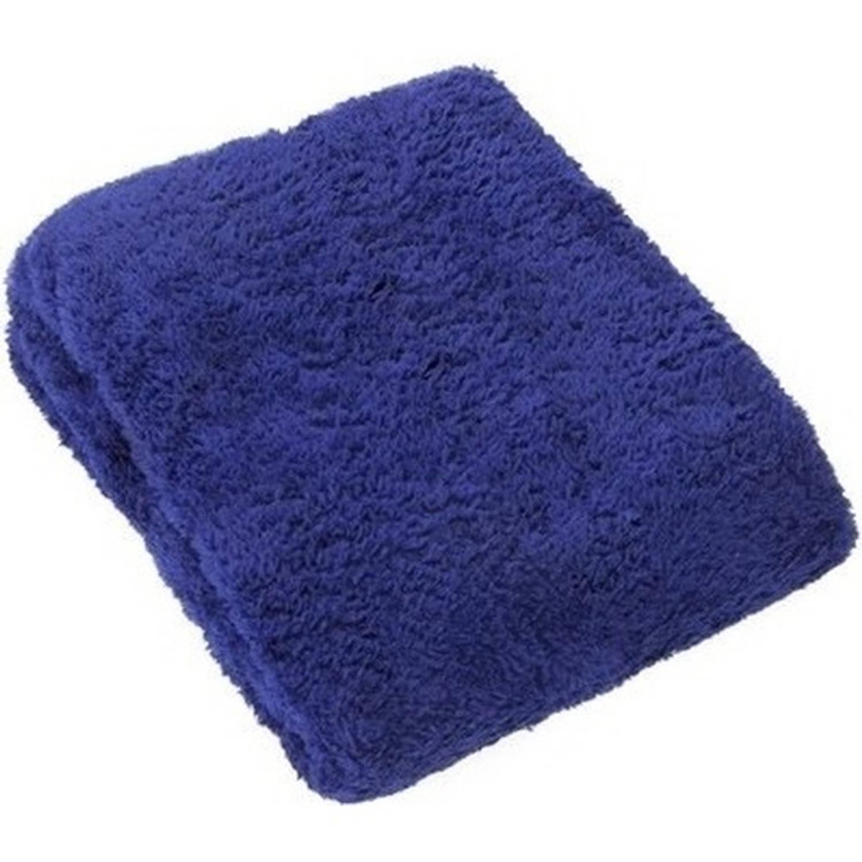 Pluche plaid blauw 160 x 130 cm