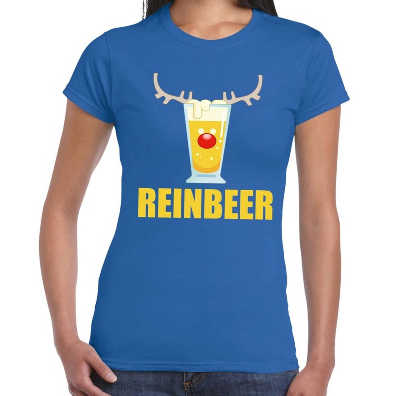 Foute Kerst t-shirt Reinbeer blauw voor dames M