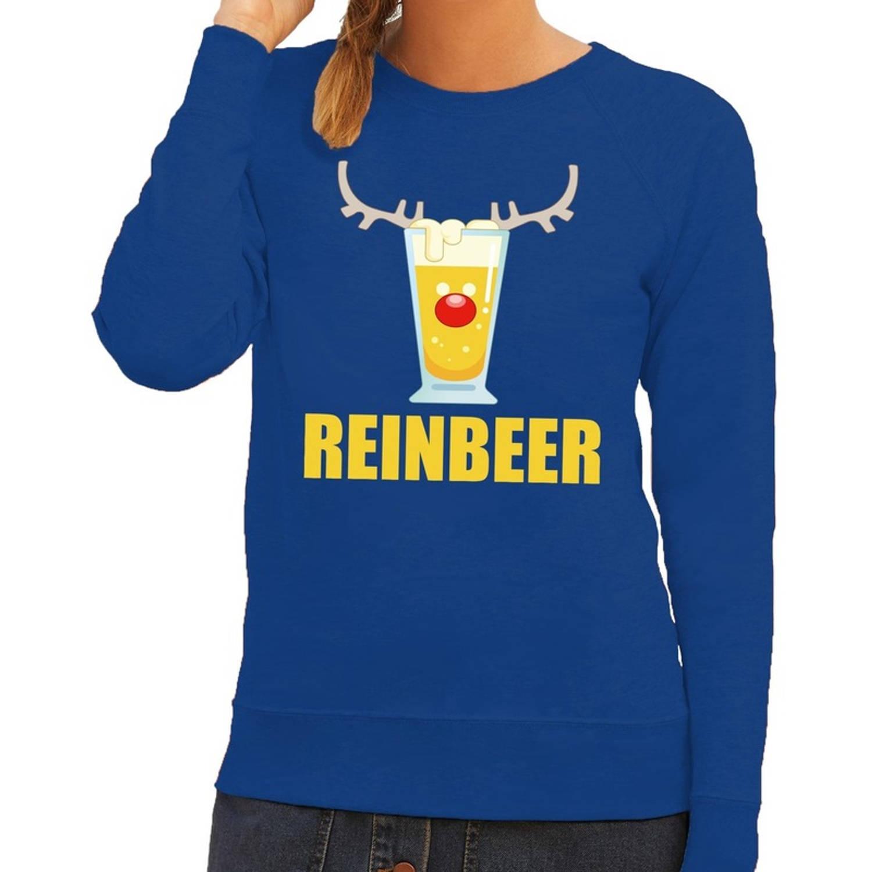 Foute kersttrui / sweater Reinbeer blauw voor dames - Kersttruien S (36)