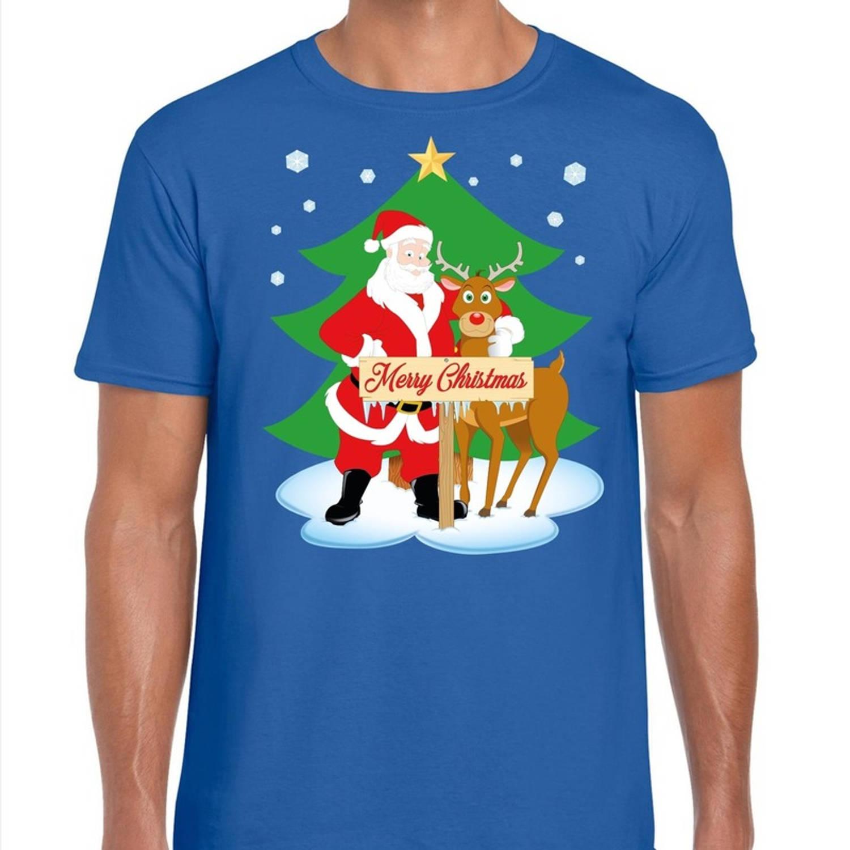 Foute Kerst t shirt met de kerstman en rendier Rudolf blauw voor heren 2XL