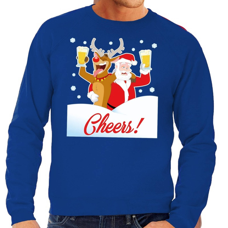 Gratis Kersttrui.Foute Kersttrui Cheers Met Dronken Kerstman Blauw Voor Heren S 48
