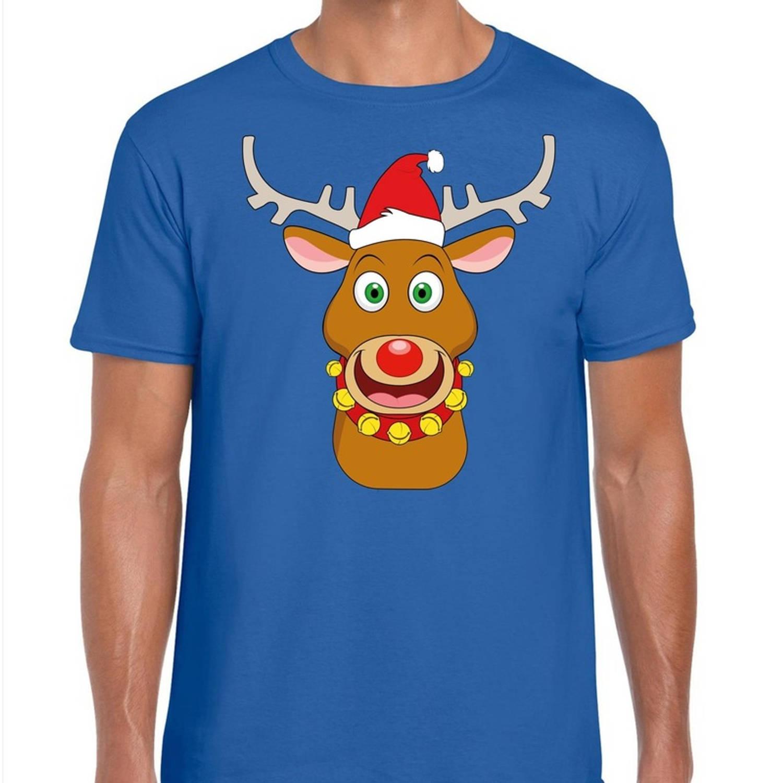 Foute Kerst t-shirt rendier Rudolf rode kerstmuts blauw heren S