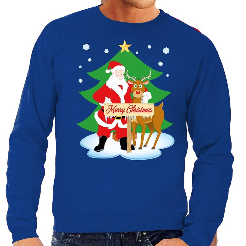 Foute kersttrui / sweater met de kerstman en rendier Rudolf blauw voor heren - Kersttruien S (48)
