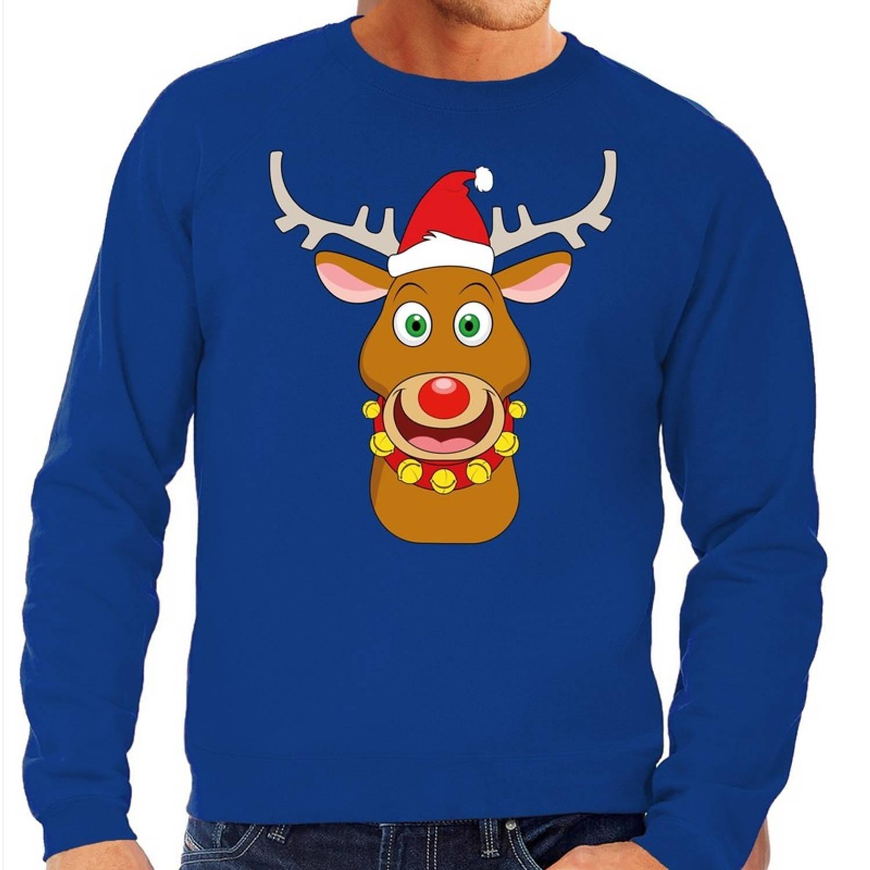 Foute kersttrui / sweater met Rudolf het rendier met rode kerstmuts blauw voor heren - Kersttruien S (48)