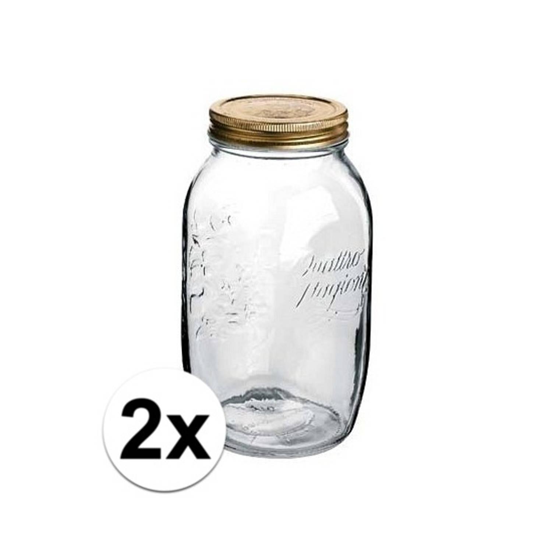 2x stuks Weckpotten met draaideksel 1500 ml