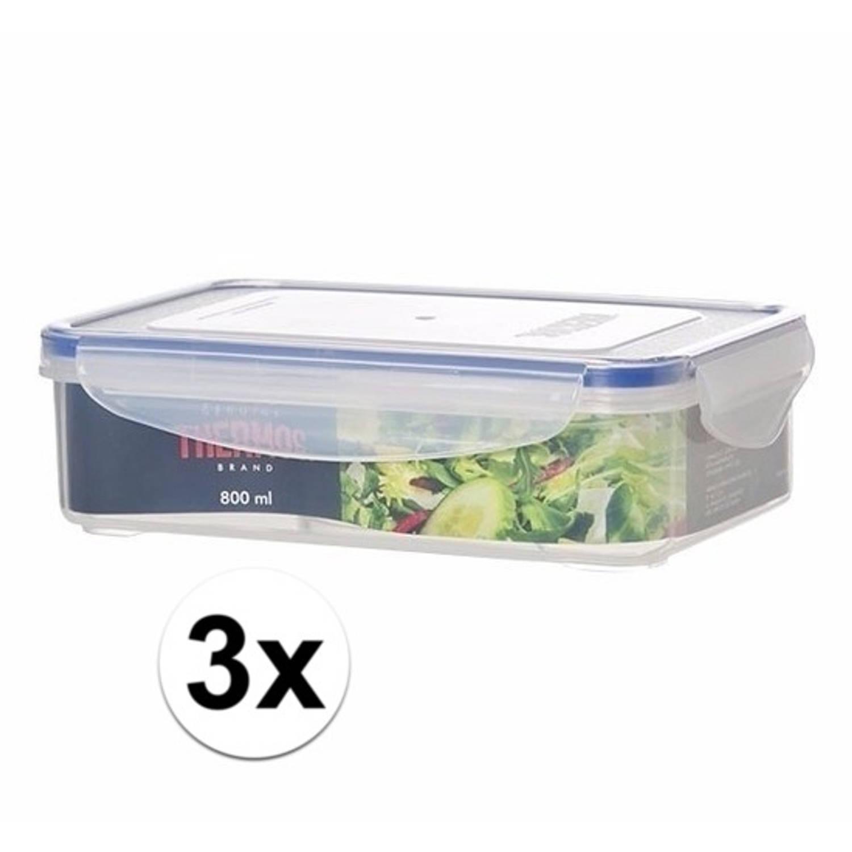 3x stuks Thermos airtight vershoud dozen/boxen 800 ml