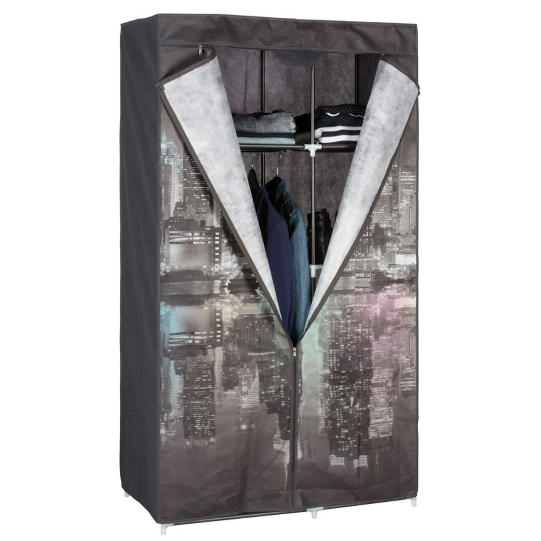 Mobiele opvouwbare kledingkast/garderobekast 160 cm New York night - Camping/zolder