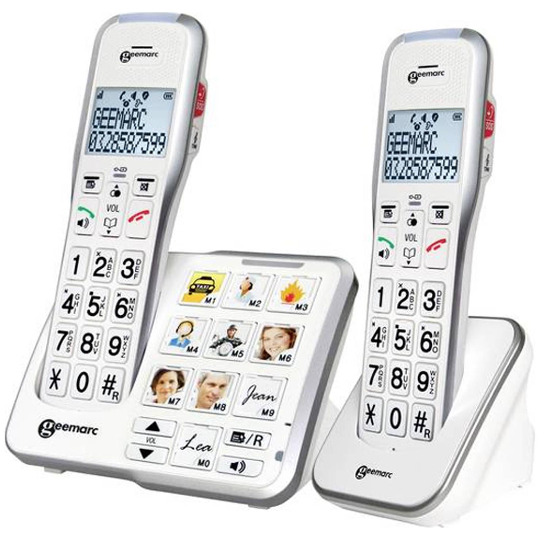 Duo DECT telefoon met cijfers en foto toetsen - Geemarc 595-2