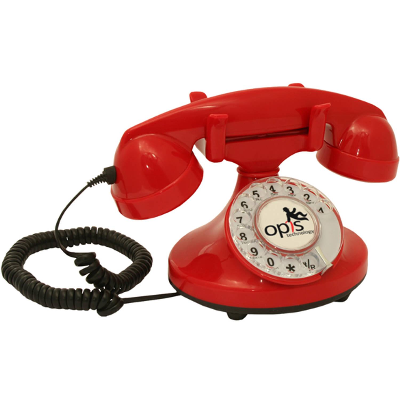 Opis FunkyFon huistelefoon met draaischijf - Rood