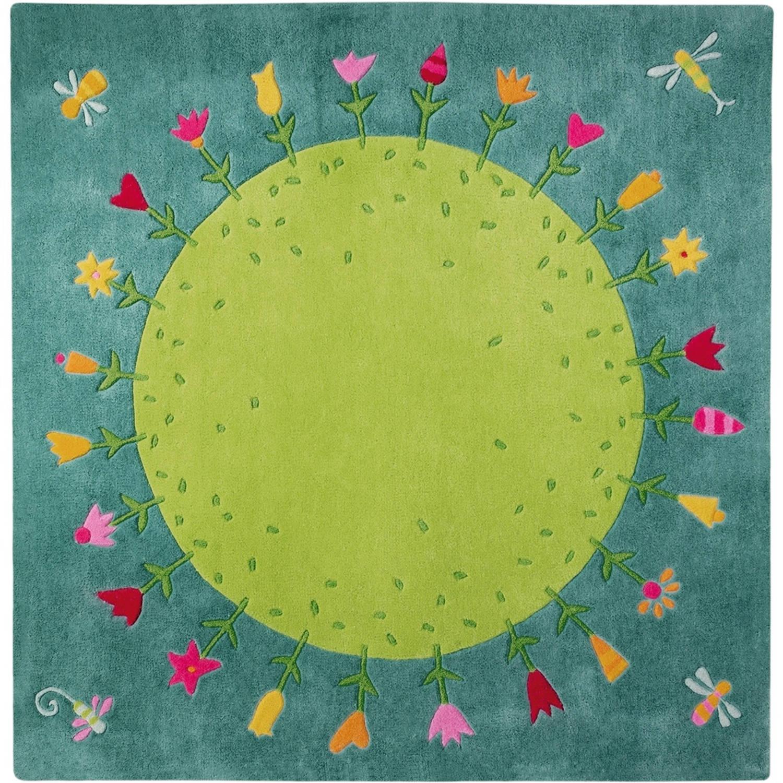 Haba vloerkleed bloemenplaneet groen 150 x 150 cm