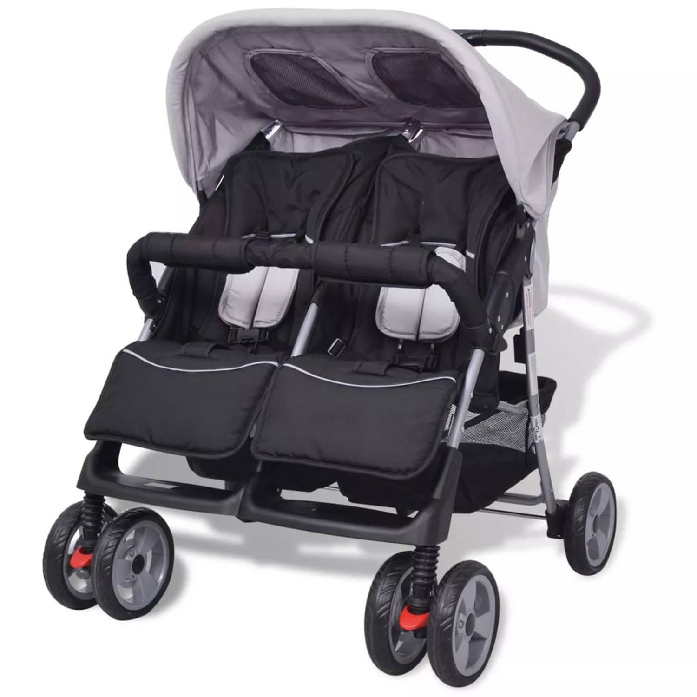 vidaXL Tweeling kinderwagen staal grijs en zwart