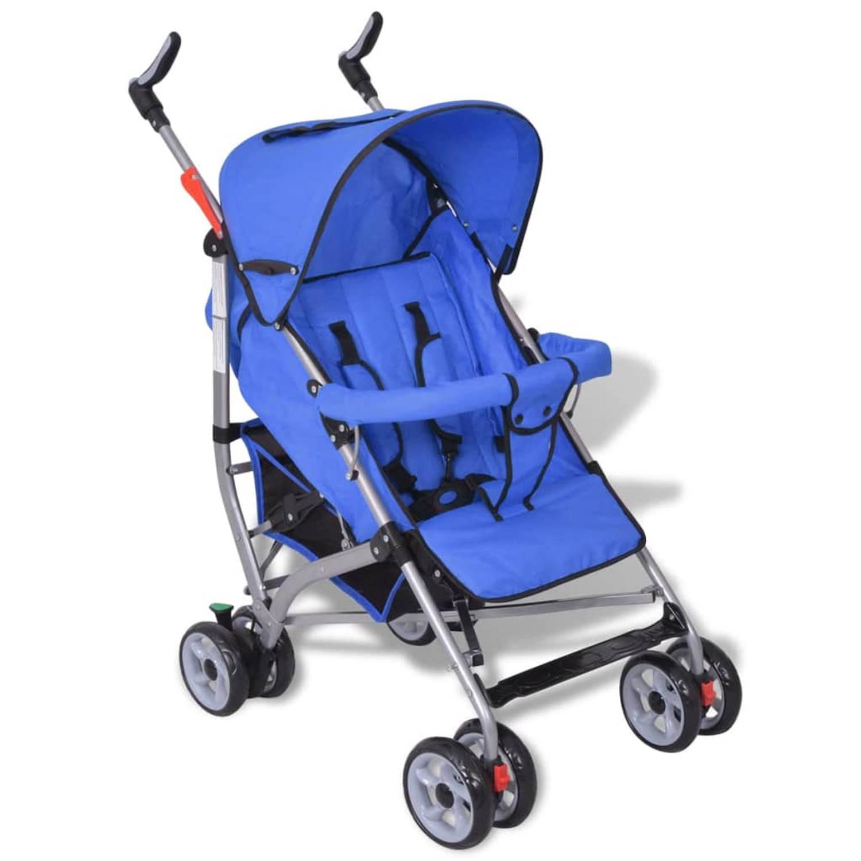 Moderne kinderwagen blauw (5-standen)