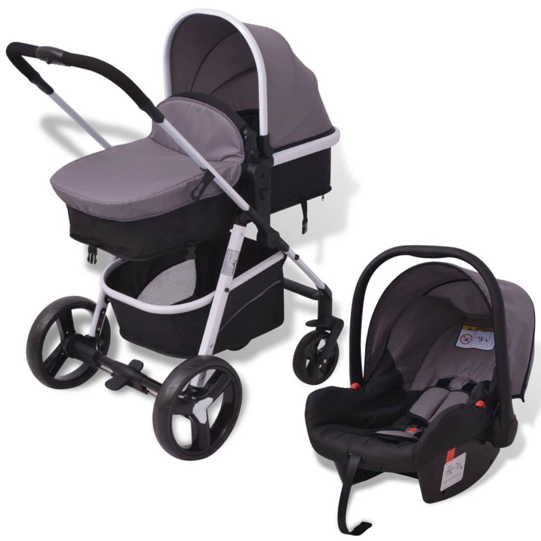 vidaXL Kinderwagen 3-in-1 grijs en zwart aluminium