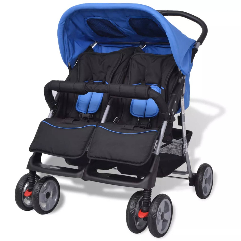 vidaXL Tweeling kinderwagen staal blauw en zwart