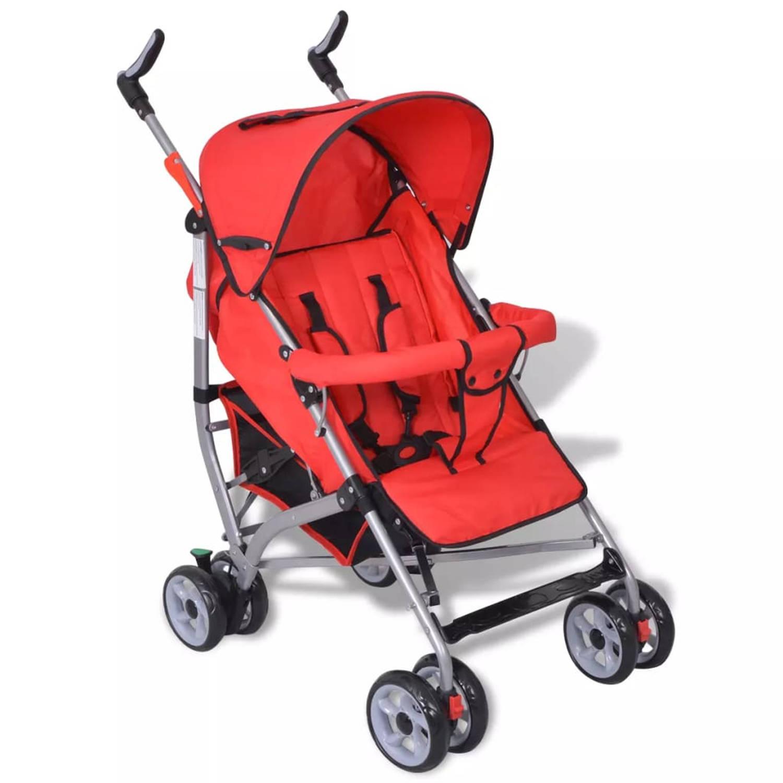 Moderne kinderwagen rood (5-standen)