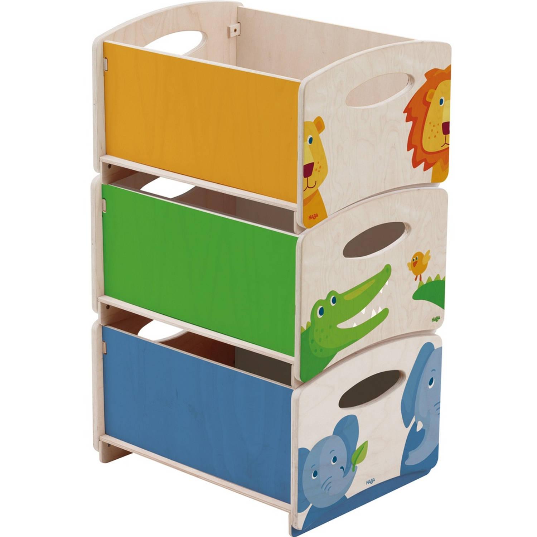Haba stapelkisten dierentuin groen/blauw/oranje 26 x 42 cm