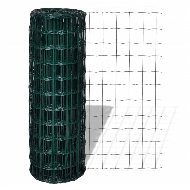 vidaXL Euro hek 25x1,7 m met 76x63 mm gaas staal