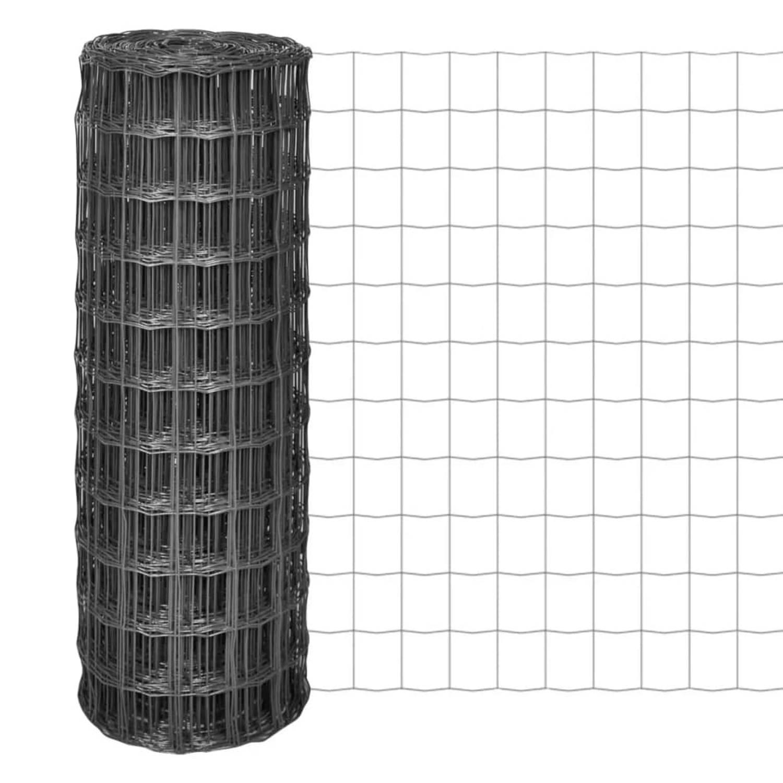 vidaXL Euro hek 25x1 m met 77x64 mm gaas staal grijs
