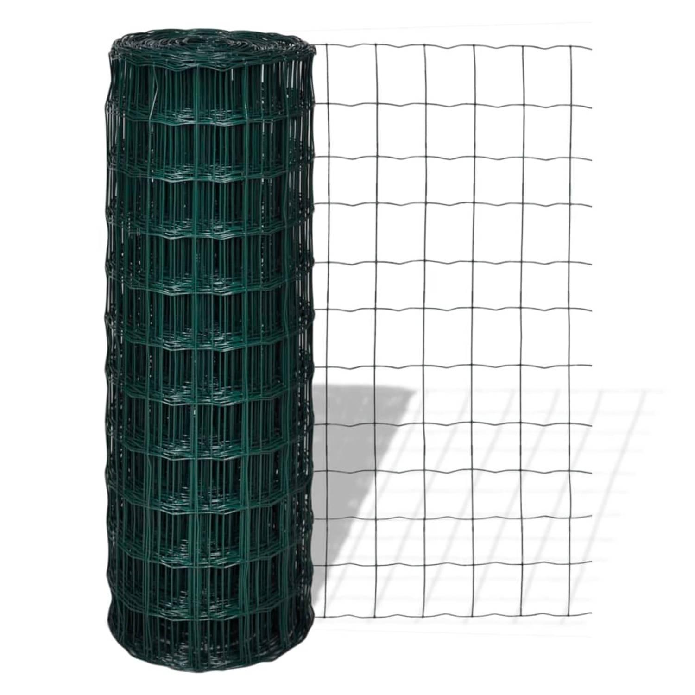 vidaXL Euro hek 25x1,7 m met 100x100 mm gaas staal