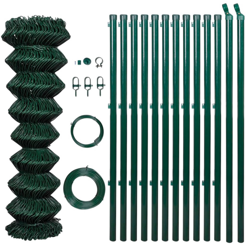 Tuinhek 1,25 x 25 m groen met palen & alle toebehoren