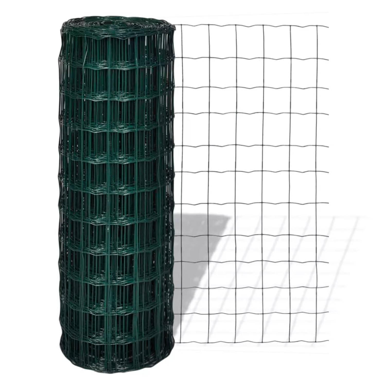 vidaXL Euro hek 10x1,7 m met 100x100 mm gaas staal