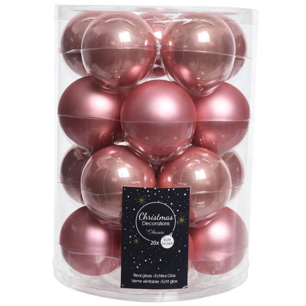 Glas Kerstballen (6cm) Box 20 Stuks Wilde Roos