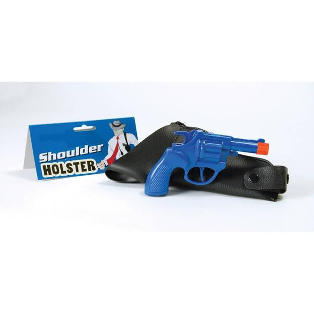 Cowboy pistool met holster blauw 22 cm - carnaval nep pistolen