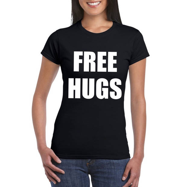 Free hugs tekst t-shirt zwart dames XL