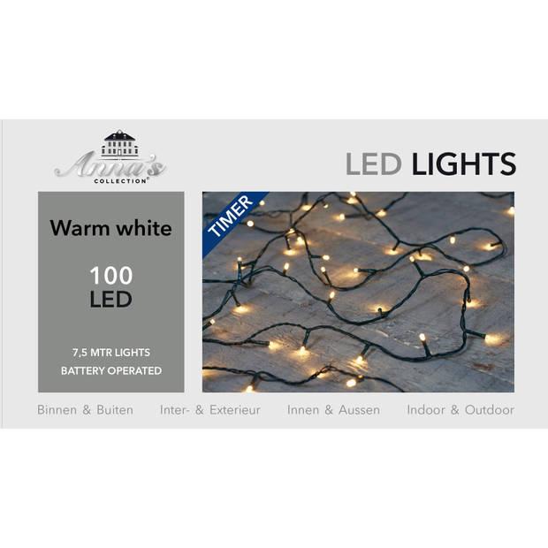 3 stuks Lichtsnoer zwart op batterijen 100 lampjes