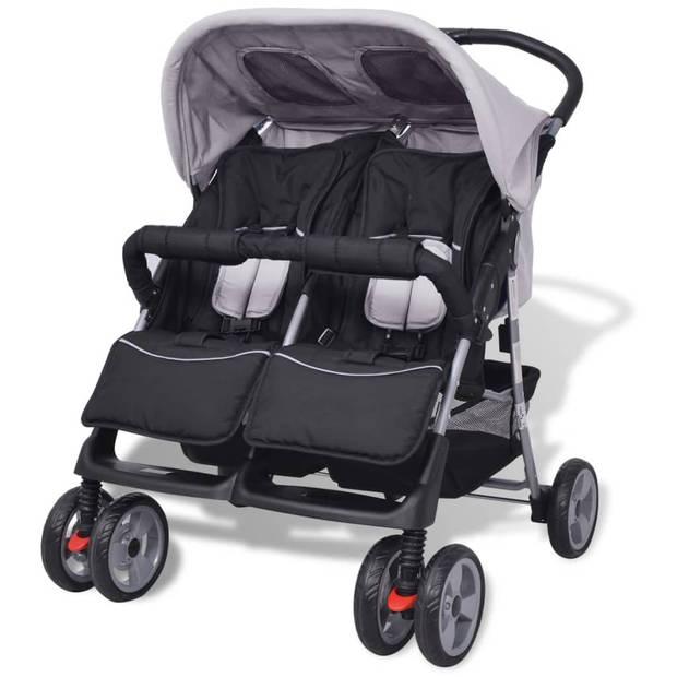 vidaXL Tweelingkinderwagen staal grijs en zwart
