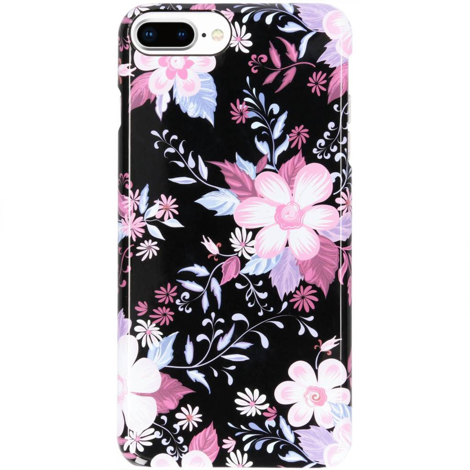 iPhone 8 Plus / 7 Plus / 6(s) Plus hoesje bloemen zwart - Flowers Passion