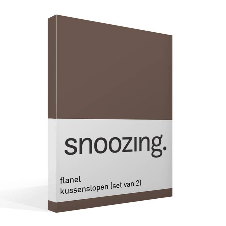 Snoozing flanel kussenslopen (set van 2) - 100% geruwde flanel-katoen - 40x60 cm - Taupe