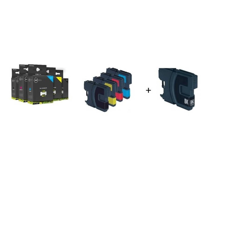 Inktmedia® - Inktcartridge - Alternatief voor Brother LC-980 en LC-1100 serie 2x zwart en 1x cyaan 1x magenta 1x geel