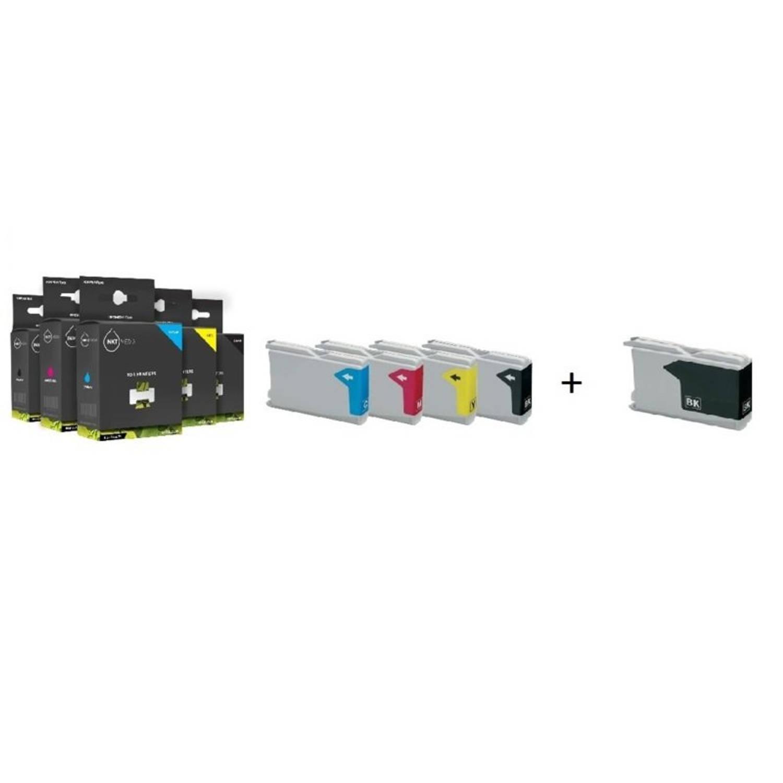 Inktmedia® - Inktcartridge - Alternatief voor Brother LC-970 en LC-1000 serie 1x zwart en 1x cyaan 1x magenta 1x geel