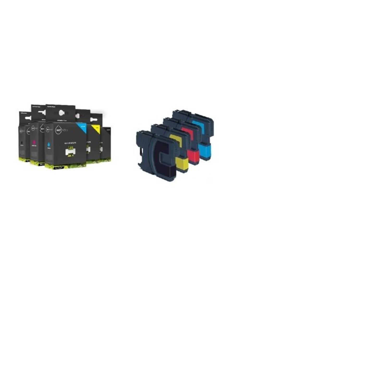 Inktmedia® - Inktcartridge - Alternatief voor de Brother LC-1220 en LC-1240 serie 1x zwart 1x cyaan 1x magenta 1x geel