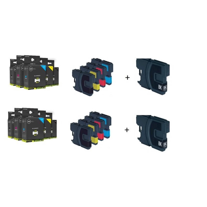Inktmedia® - Inktcartridge - Alternatief voor de Brother LC-1220 en LC-1240 serie 4x zwart 2x cyaan 2x magenta 2x geel