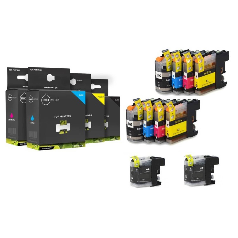 Inktmedia® - Inktcartridge - Alternatief voor de Brother LC-3219 serie 4x zwart 2x cyaan 2x magenta 2x geel = 10 pack