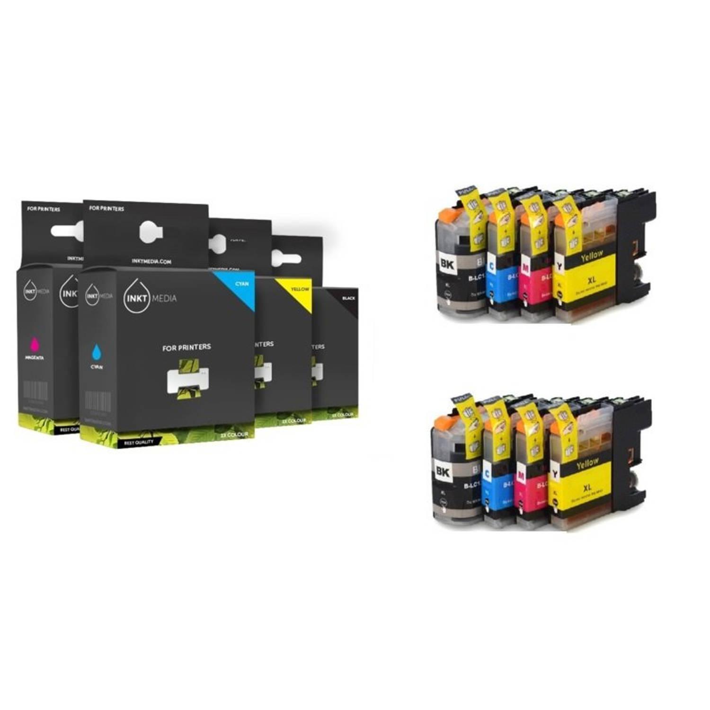 Inktmedia® - Inktcartridge - Alternatief voor de Brother LC-3219 serie 2x zwart 2x cyaan 2x magenta 2x geel = 2x set