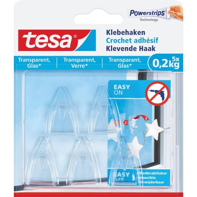 Afbeelding van 11x Tesa klevende Haak voor Transparant en Glas, draagvermogen 200gr, blister a 5 stuks