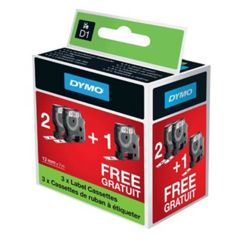 Dymo D1 tape 12 mm, zwart op wit, 2 + 1 gratis