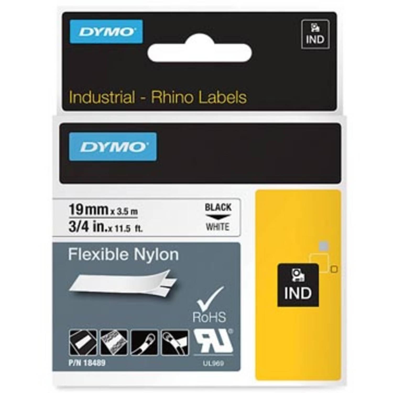 Dymo RHINO flexibele nylontape 19 mm, zwart op wit