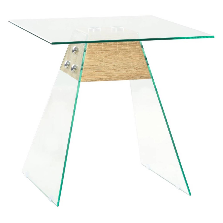Korting Vidaxl Bijzettafel 45x45x45 Cm Mdf En Glas Eikenkleur
