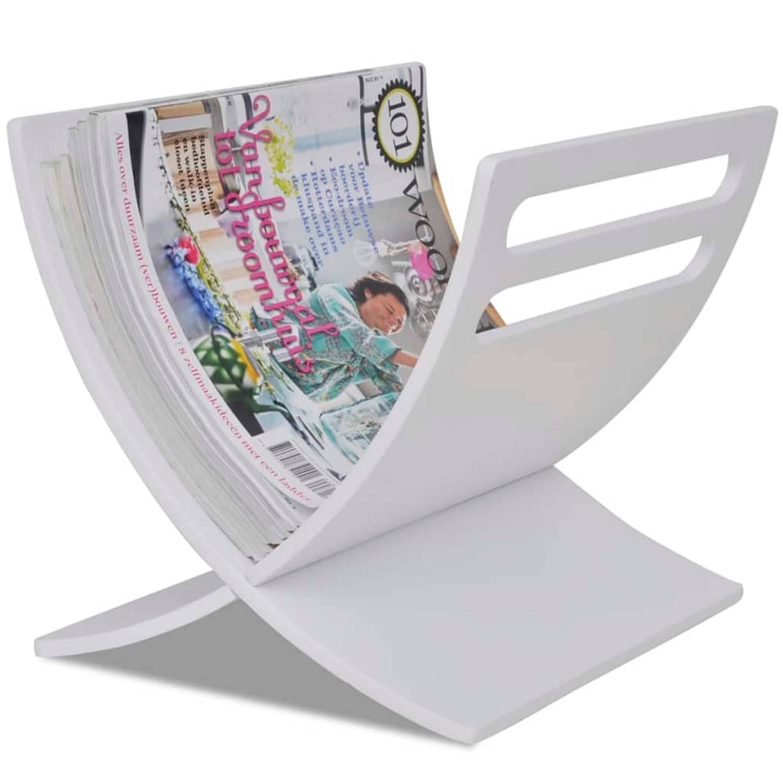 vidaXL Tijdschriftenrek staand hout wit