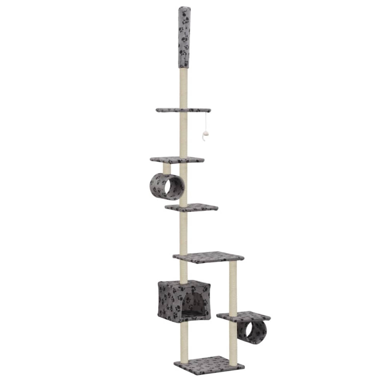 vidaXL Kattenkrabpaal met sisalpalen 260 cm pootafdrukken grijs