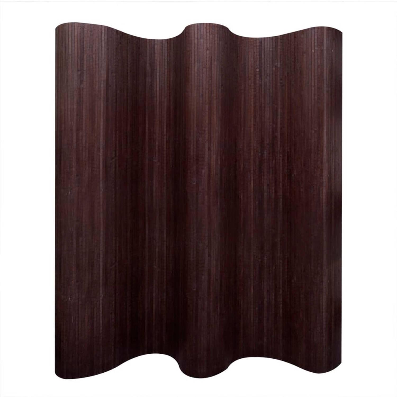 vidaXL Kamerverdeler donkerbruin bamboe 250x195 cm