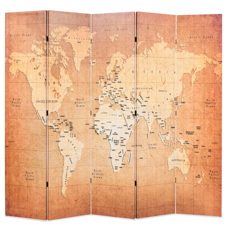 vidaXL Kamerverdeler inklapbaar wereldkaart 200x180 cm geel